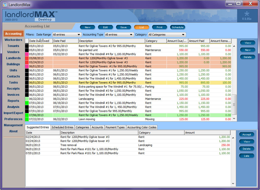 LandlordMax Property Management Software Screen shot