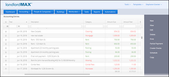 LandlordMAX 'SOHO' Network version Accounting Screen