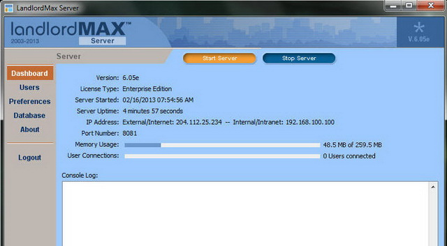 LandlordMax Property Management Software: Server login