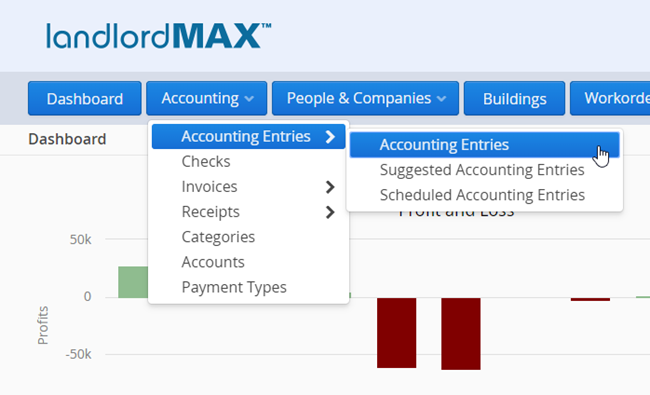 LandlordMax Property Management Software: Accounting Menu