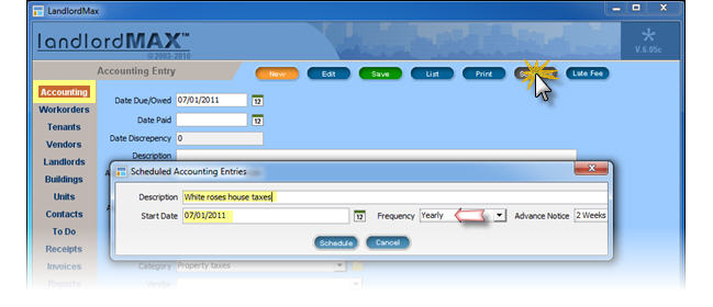 LandlordMax Property Management Software: create schedule