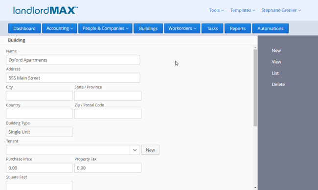 LandlordMax Property Management Software: New Building