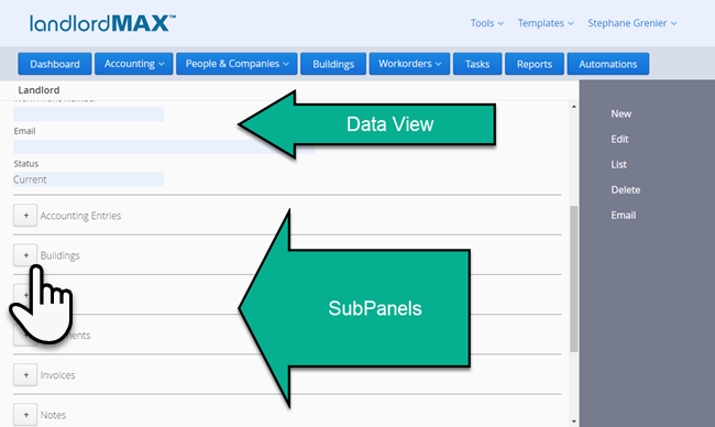 LandlordMax Property Management Software: Landlord SubPanels
