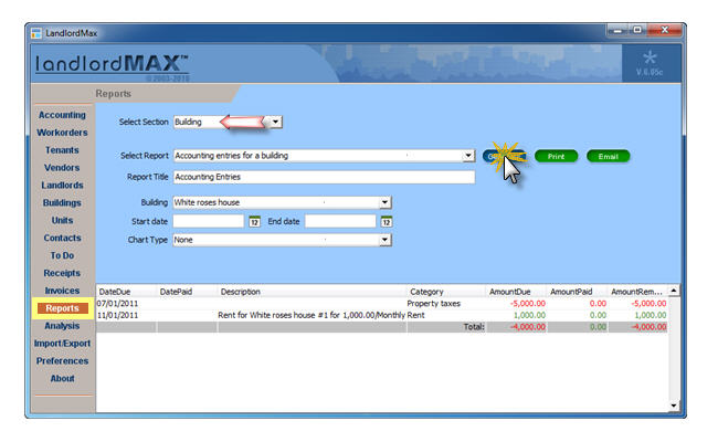 LandlordMax Property Management Software: Qreport1