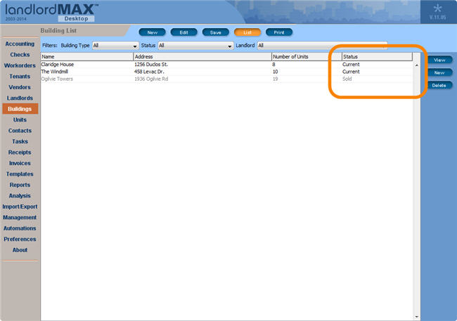 LandlordMax Property Management Software New Feature Screenshot: New Statuses