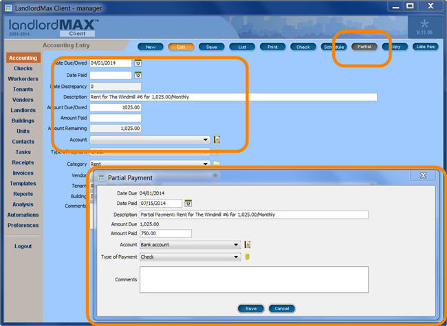 LandlordMax Property Management Software New Feature Screenshot: Partial Payment