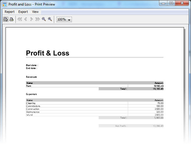 LandlordMax Property Management Software New Feature Screenshot: Profit and Loss Report