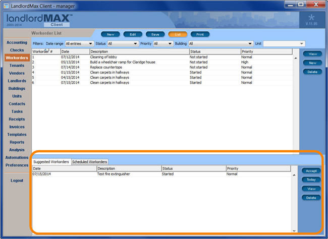 LandlordMax Property Management Software New Feature Screenshot: Scheduled Workorders and regular maintenance