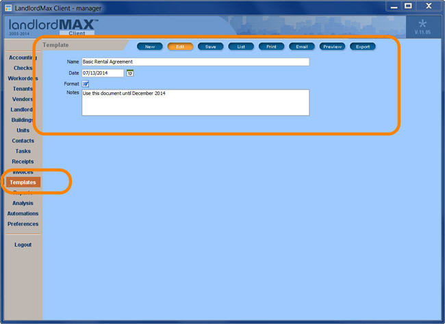 LandlordMax Property Management Software New Feature Screenshot: Document Templates