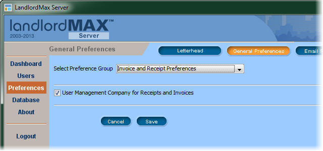 LandlordMax Property Management Software - Management option for invoices and receipts