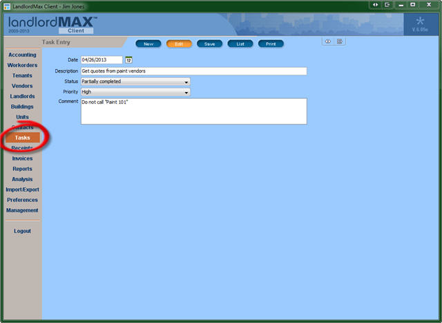 LandlordMax Property Management Software - Tasks