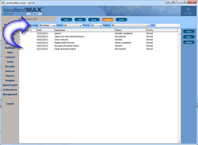 LandlordMax Property Management Software - New Workorder Filters