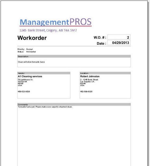 LandlordMax Property Management Software - Workorder Printout