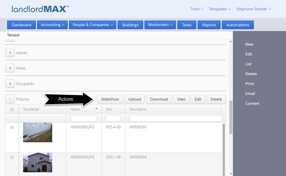 LandlordMax Real Estate Rental Software - Cloud Edition SubPanel Actions