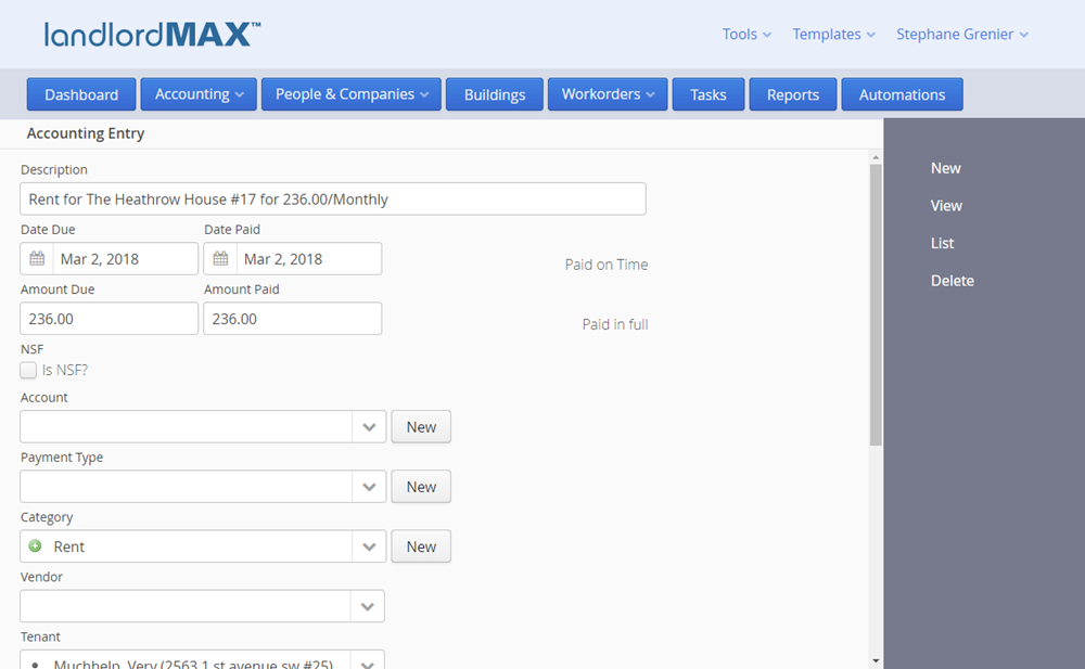LandlordMax Rental Property Software - Cloud Edition Accounting Entry Form View