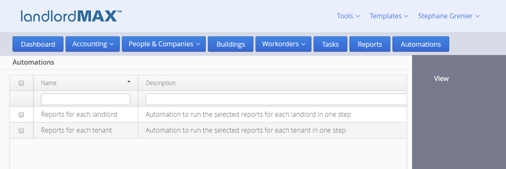 LandlordMax Property Management Software - Cloud Edition Automations List