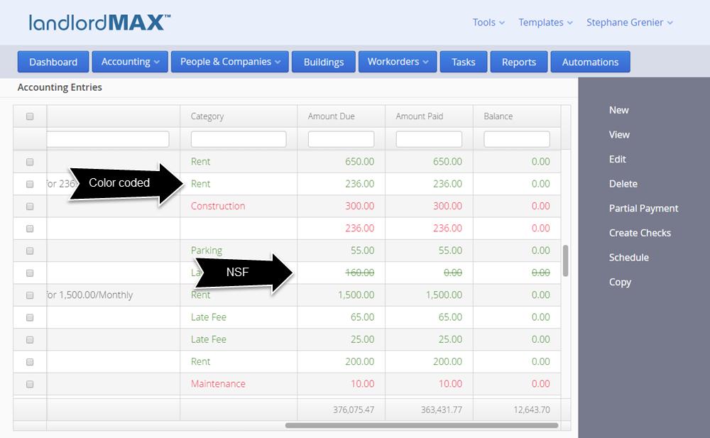 LandlordMax Property Management Software - Cloud Edition Color Codes