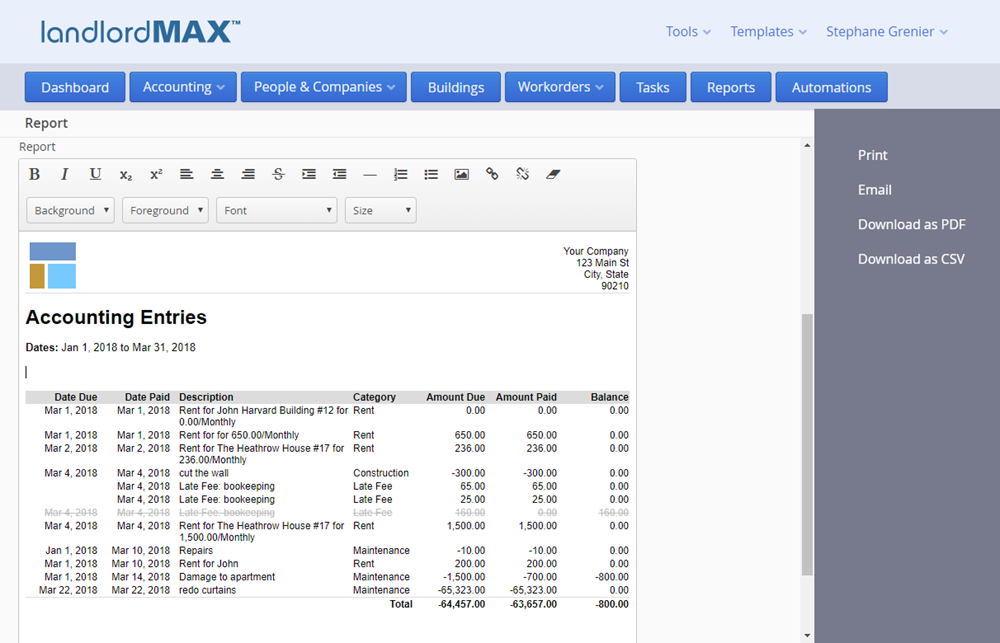 LandlordMax Property Management Software - Cloud Edition Report Generation