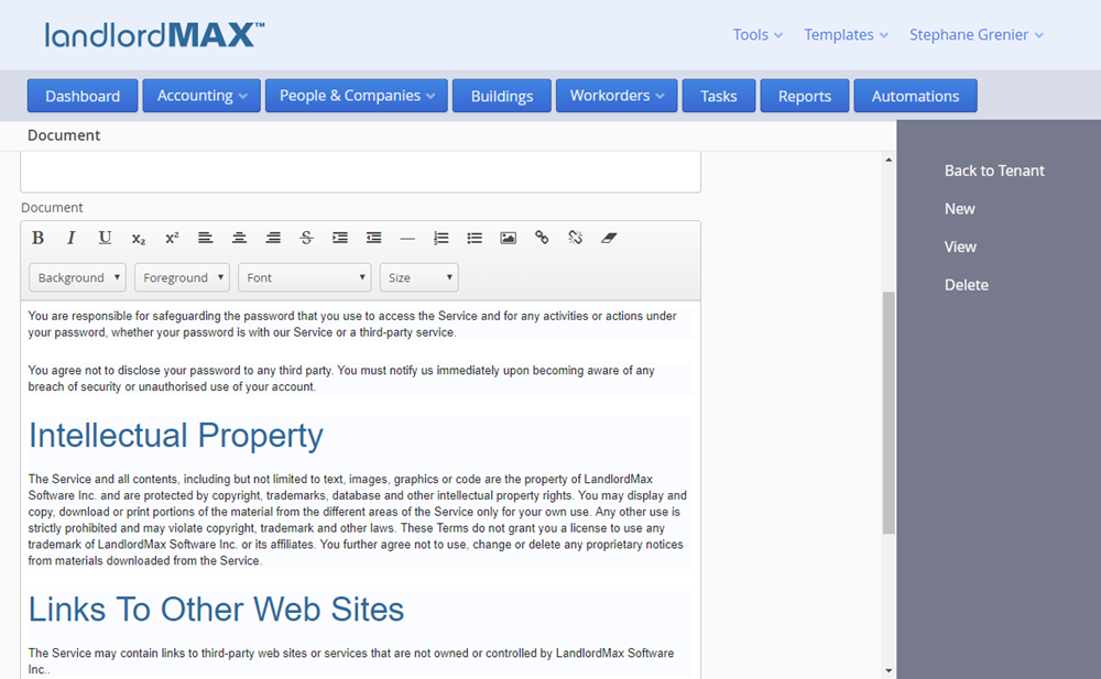 LandlordMax Property Management Software - Cloud Edition Word Processor