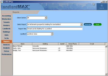LandlordMax Property Management Software New Feature Screenshot: List tenants grouped by building for one landlord Report