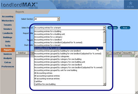 LandlordMax Property Management Software New Feature Screenshot: Increased Combo Box Sizes