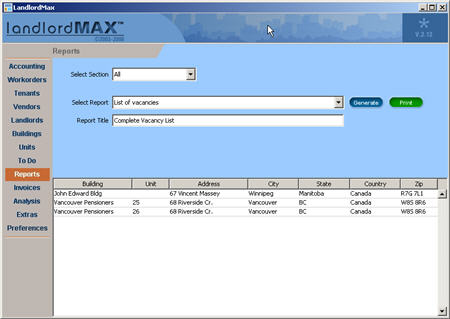 LandlordMax Property Management Software New Feature Screenshot: List All Vacancies Report