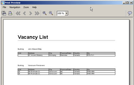 LandlordMax Property Management Software New Feature Screenshot: List All Vacancies Grouped by Building Print Report