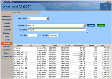 LandlordMax Property Management Software New Feature Screenshot: Rent Roll Report