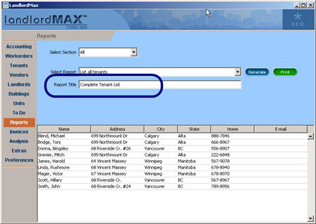 LandlordMax Property Management Software New Feature Screenshot: Report Title