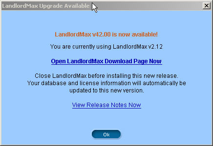 LandlordMax Property Management Software New Feature Screenshot: Upgrade Notification
