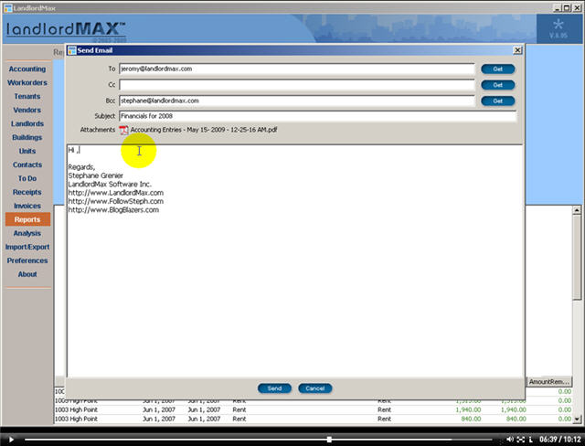 LandlordMax Property Management Software New Feature Screenshot: Email
