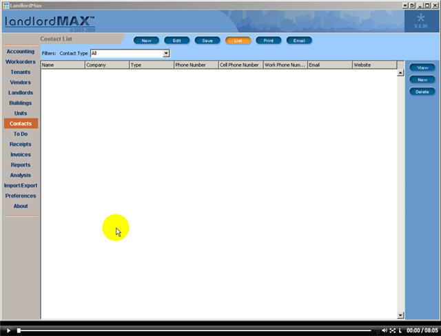 LandlordMax Property Management Software New Feature Screenshot: Contacts
