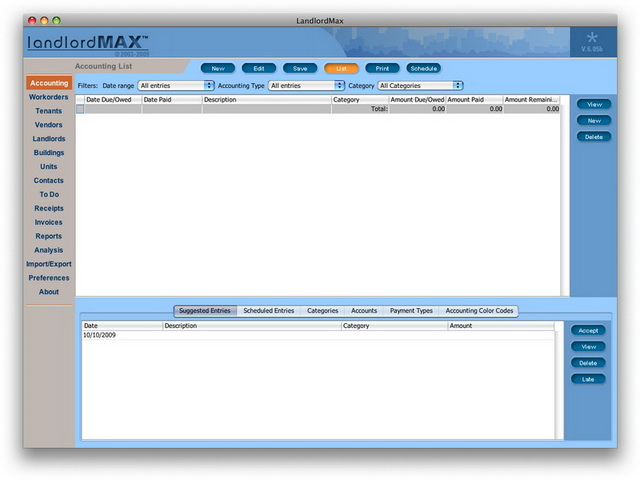 LandlordMax Property Management Software New Feature Screenshot: Mac Version