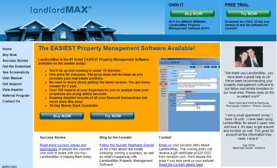 LandlordMax Property Management Software website 2005