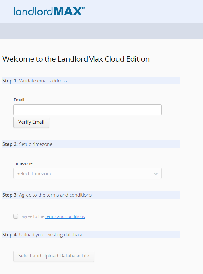 LandlordMax Cloud Edition - Import Database