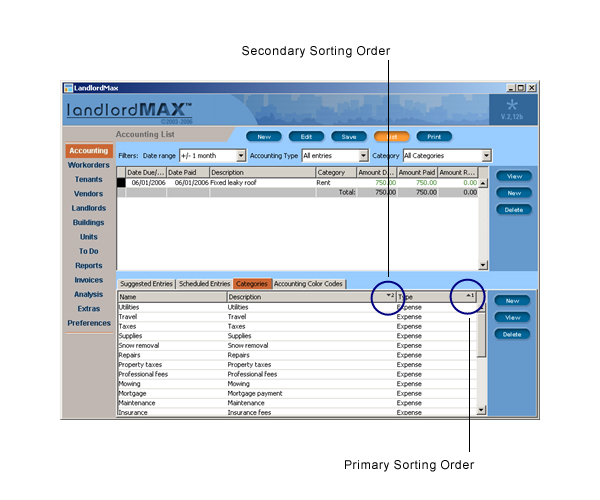 LandlordMax Property Management Software User Manual Screenshot: Table Sorting Order