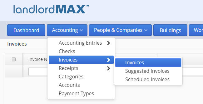 LandlordMax Property Management Software: Invoices and Receipts Menu