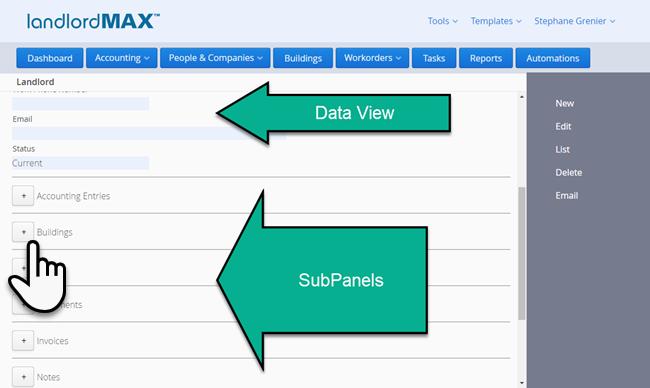LandlordMax Property Management Software: Landlord SubPanels