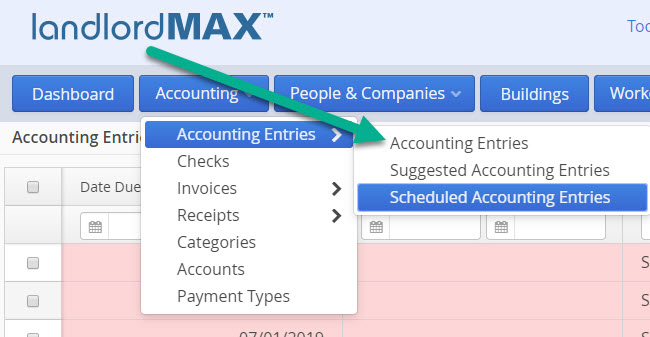 LandlordMax Property Management Software: Accounting Entries Sections