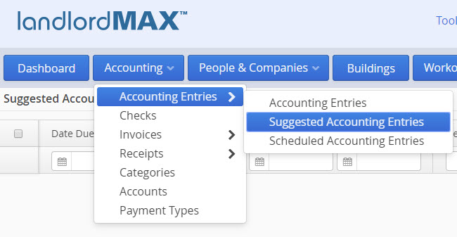 LandlordMax Property Management Software: Suggested Accounting Entry Menu
