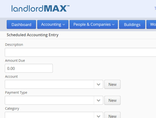 LandlordMax Property Management Software: New Scheduled Accounting Entry Form