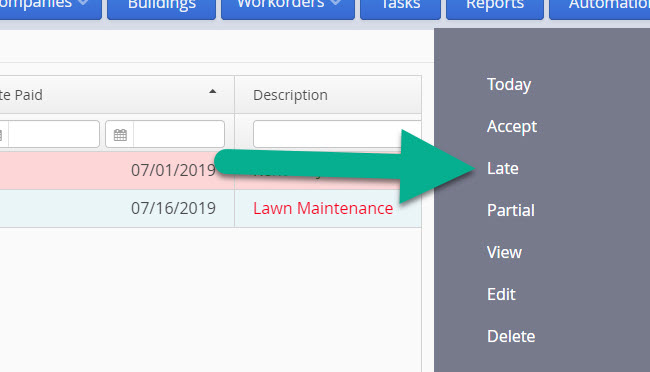 LandlordMax Property Management Software: Edit Suggested Accounting Entries Late Action