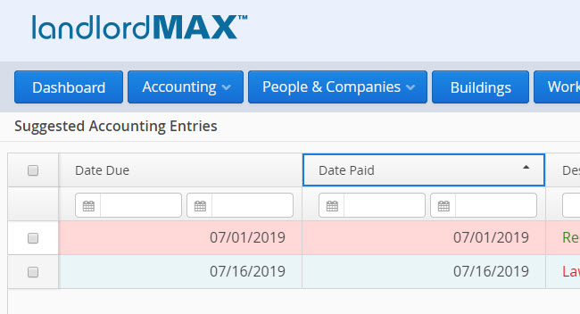 LandlordMax Property Management Software: Suggested Accounting Entries Table