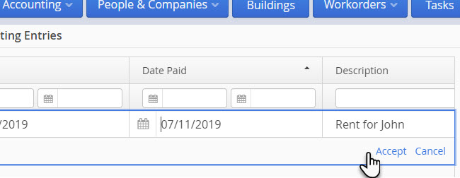 LandlordMax Property Management Software: Edit Suggested Accounting Entries in Table