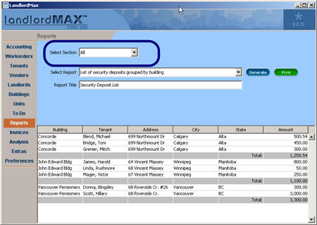 LandlordMax Property Management Software New Feature Screenshot: All Reports
