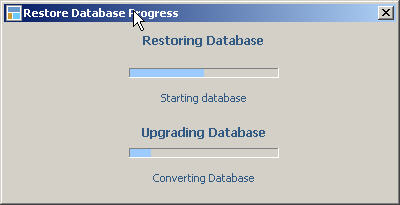 LandlordMax Property Management Software New Feature Screenshot: Backup and restore database progress bar