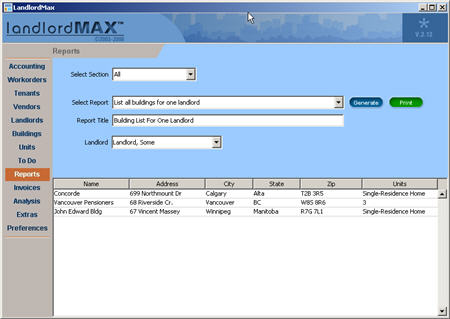 LandlordMax Property Management Software New Feature Screenshot: List all buildings for one landlord Report