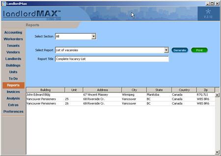 LandlordMax Property Management Software New Feature Screenshot: List All Vacancies Report