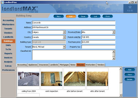 LandlordMax Property Management Software New Feature Screenshot: Pictures