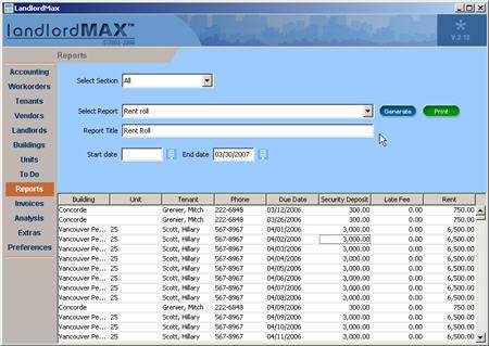 LandlordMax Property Management Software New Feature Screenshot: Rent Roll Report